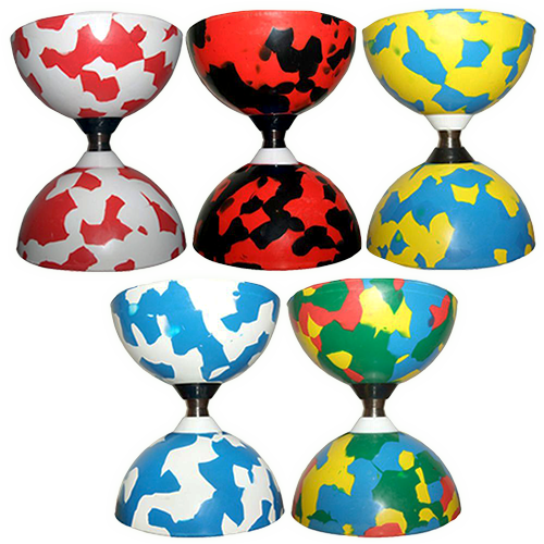 Five multicolour diabolo cups