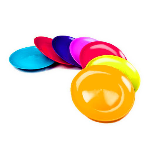 Multicolour plastic plates spread out