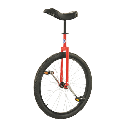 Red unicycle balancing upright